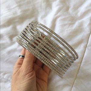 Multi-strap Silver rhinestone choker